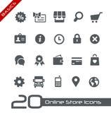 Online-lagersymbols//grunderna Arkivbilder