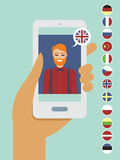 Online language learning concept. Flat vector illustration Stock Photos