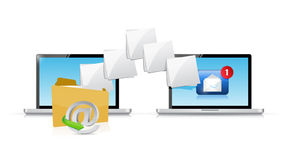 Online laptop email sending communication Stock Images