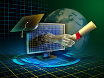 Online learning. Android hand emerges from a monitor and delivers a diploma. Digital illustration Stock Photos