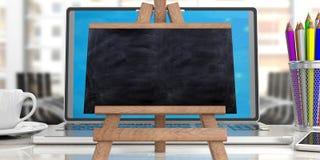 Online learning concept. Blackboard on laptop against blur office background, copy space. 3d illustration vector illustration