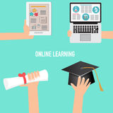 Online Learning Concept with graduated hat and diploma.illustrat Stock Photography