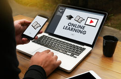ONLINE LEARNING Connectivity Technology Coaching Skills Teach Di. Gital Online Internet vector illustration