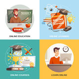 Online Learning 2x2 Design Concept. With equipment and tutorials for distance education certificate and magistracy hat flat vector illustration Stock Images