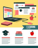 Online learning and education infographic. Stock Image