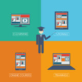 Online learning education infographic template Royalty Free Stock Images