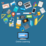 Online learning flat design illustration. Royalty Free Stock Photos