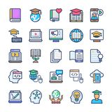 Online Learning Flat Icons Set stock illustration