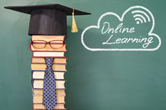 Online learning. Funny education concept with unusual man teacher Stock Photography