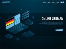 Online Learning German. Education concept, Online training, specialization, university studies. Isometric vector illustration. Online Learning German. Education stock illustration