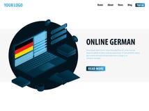 Online Learning German. Education concept, Online training, specialization, university studies. Isometric vector illustration. Online Learning German. Education royalty free illustration