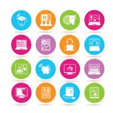 Online learning icons. Set of 16 online learning icons in colorful buttons vector illustration