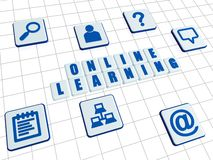 Online learning and internet signs in white blocks Stock Photography