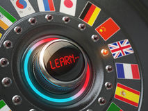 Online learning language concept. Switch knob button with flags. Stock Image