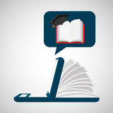 Online learning open book cap graduation education Stock Image