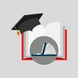 Online learning open book cap graduation education Stock Images