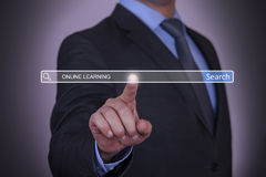 Online Learning on Search Engine. On working business conceptual Royalty Free Stock Images