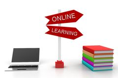 Online Learning Sign  Board With Laptop And Books Royalty Free Stock Image