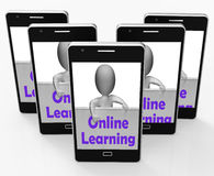 Online Learning Sign Phone Means E-Learning And Internet Courses Stock Image