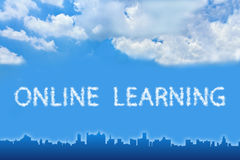 Online learning text on cloud Stock Photography