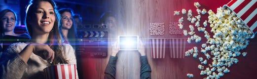 Online leje się kino fotografia stock