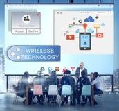 Online Leje się transfer technologii technologii bezprzewodowej pojęcie Fotografia Stock