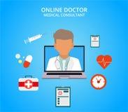 Online lekarka, internetów zdrowie komputerowa usługa, medycznej konsultaci wektoru pojęcie również zwrócić corel ilustracji wekt royalty ilustracja