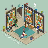 Online library. Concept in 3d isometric flat design royalty free illustration