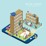 Online library concept 3d isometric infographic Stock Photography