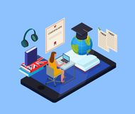 Online Library Concept. Online education isometric concept with female student using electronic library and various objects for studying 3d vector illustration stock illustration