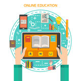 Online library concept vector illustration