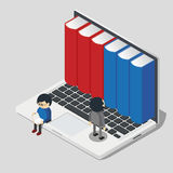 Online library concept with little people taking books from laptop. Isometric 3d online library concept with little people taking books from laptop, vector Stock Images
