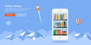 Online library concept. Picture of mobile phone with bookshelfs and clouds and mountains on background. Flat style concept banner of online mobile library Royalty Free Stock Images