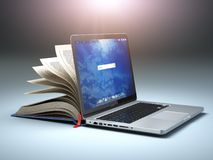 Online library or E-learning concept. Open laptop and book compilation. 3d illustration royalty free illustration