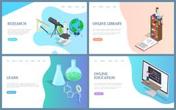 Online Library Books, Education Research Learning vector illustration