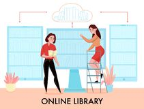 Online Library Flat Composition royalty free stock photo
