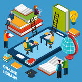 Online library isometric concept royalty free illustration