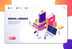 Online library isometric concept. People in bibliotheque, books laptops. Reading technology electronic library vector. Landing page. Library media isometric royalty free illustration