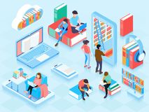 Online Library Isometric Elements Composition royalty free illustration