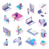 Online Library Isometric Set royalty free illustration
