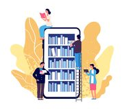 Free Online Library. People Reading Books. Vector Smartphone With Reader App. Online Book Store, Library And Education Flat Royalty Free Stock Photography - 161051847