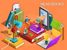 Online library. The process of education, the concept of learning and reading books in the library. University studies Royalty Free Stock Photo