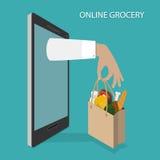 Online-livsmedelsbutik som beställer, leveransvektorbegrepp Royaltyfria Foton