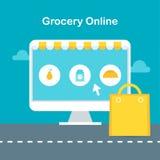 Online-livsmedelsbutikillustration Ecommerce och online-shoppingbegrepp Fotografering för Bildbyråer