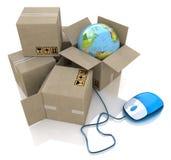 Online logistiek wereldwijd stock illustratie