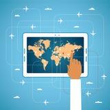 Online lotniczego bileta rezerwacja i globalny podróż wektoru pojęcie royalty ilustracja
