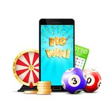 Online Lottery Casino Colorful Composition stock illustration