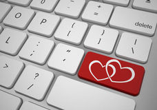 Online love button valentines day concept. 3d high quality render Royalty Free Stock Images