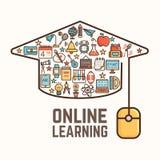 Online-lärande begrepp Arkivbild