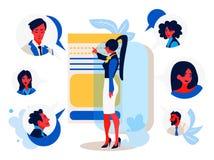 Online-möte En ung kvinnlig arbetare med en smartphone som pratar med hennes kollegor royaltyfri illustrationer